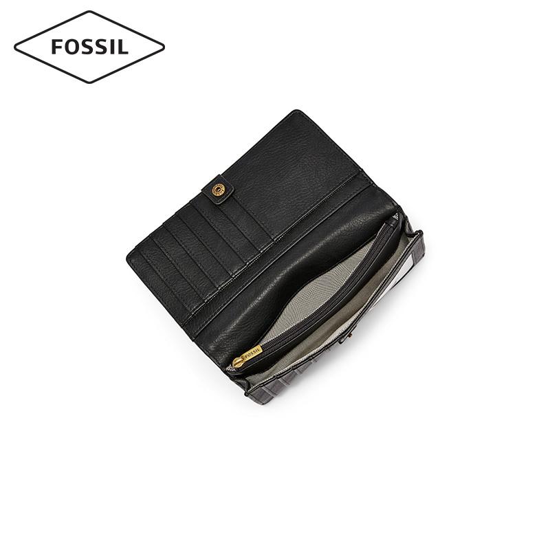 Fossil2019春夏新款多卡位手拿钱包牛皮纯色长款钱包女SL7891001