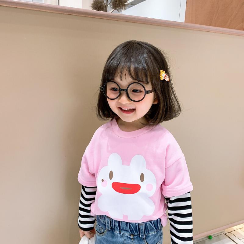 【旭雨】男女童假两件纯棉t恤衫