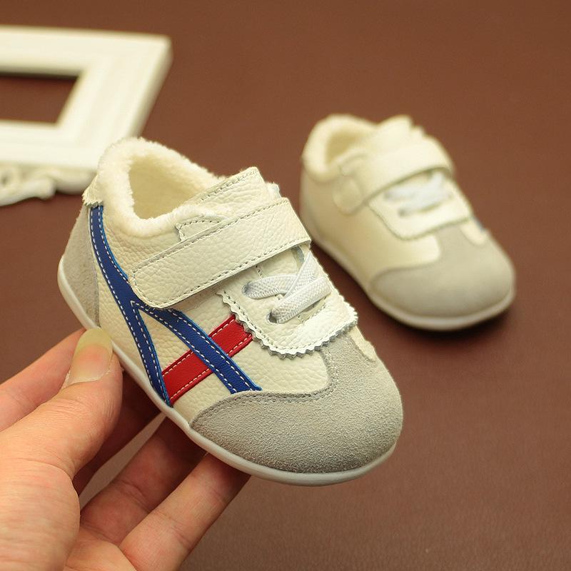 婴儿鞋子0-3岁春秋冬棉鞋幼儿软底女男宝宝学步鞋真皮加绒小白鞋