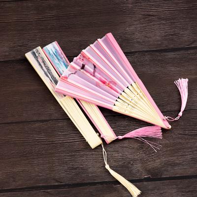 折扇女式中国风复古风古装汉服舞蹈夏季随身日式和风扇小绢布扇子