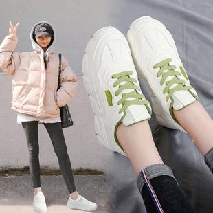 小白鞋女2019秋冬新款松糕厚底时尚圆头系带加绒ins休闲老爹女鞋