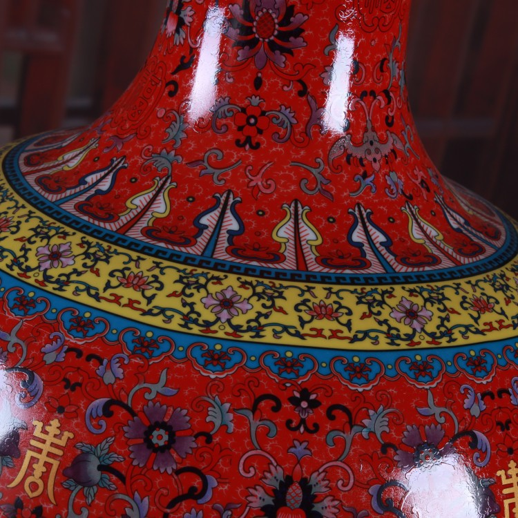 A ceramic vase furnishing articles red live colored enamel large tree home porch decoration decoration gifts
