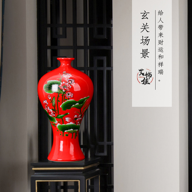 Jingdezhen ceramics, vases, flower arranging Chinese red lotus sitting room place, a new Chinese style household TV ark, arts and crafts