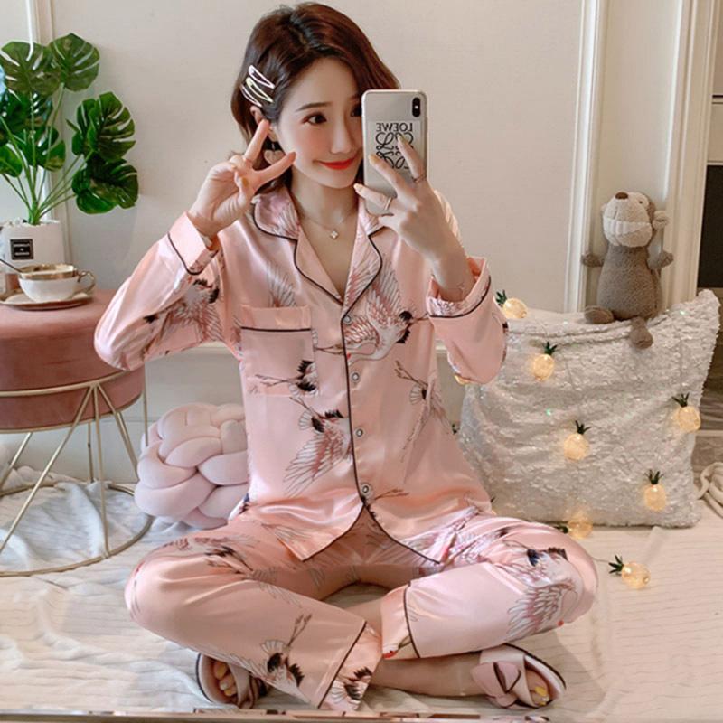 2021新品睡衣女春秋长袖长裤冰丝 睡衣女夏薄款仿真丝家居服套装