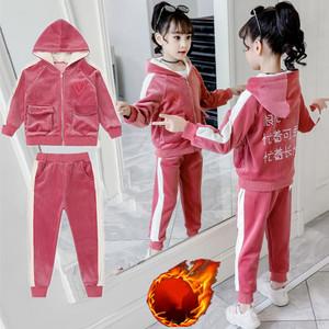 女童加绒金丝绒运动卫衣两件套2019新款春秋网红洋气儿童时尚套装