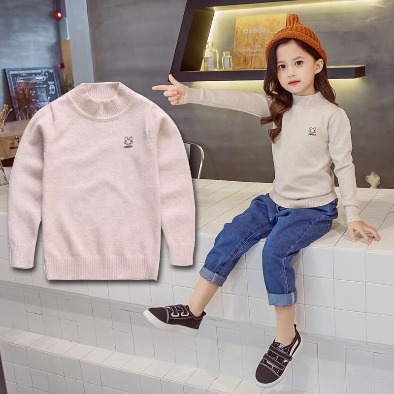 女童高领毛衣韩版2020新款秋季中大童打底加绒加厚儿童套头针织衫