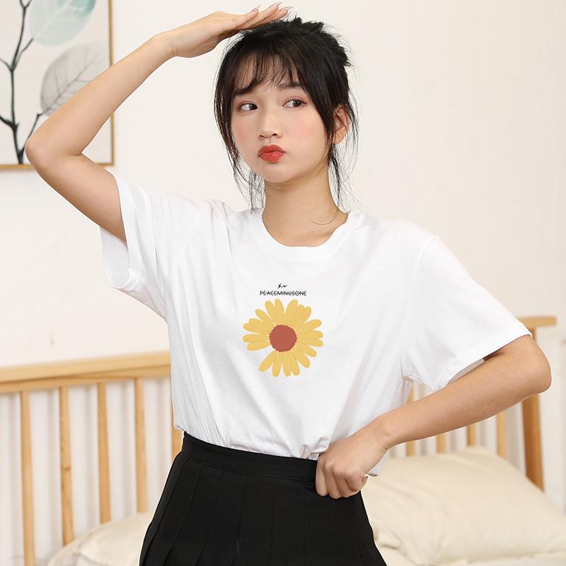 白色t恤女短袖纯棉打底衫百搭ins潮洋气半袖春夏韩版宽松圆领学生