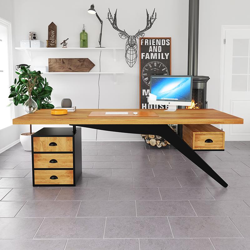 实木老板桌简约现代loft办公桌电脑桌主管桌工业风北欧创意办工桌