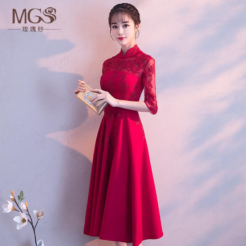 夏季新娘敬酒服旗袍2018新款红色中式修身中长款结婚礼服裙女中袖