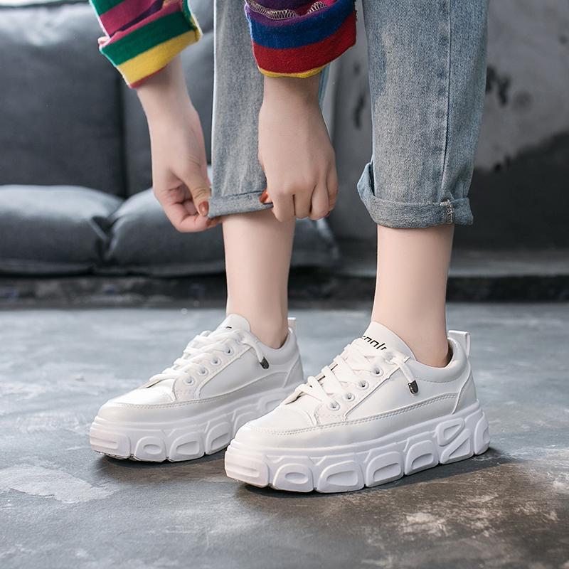 珊堡2020春季新款韩版小白鞋女学生平底懒人鞋女百搭厚底松糕板鞋