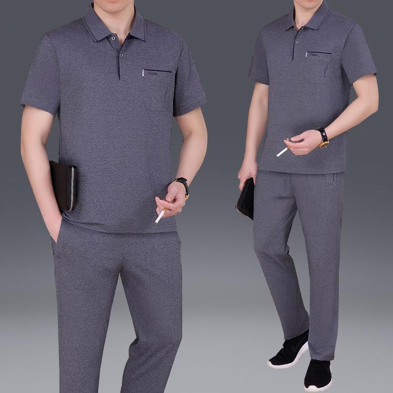 2018夏季新品中年男士运动套装短袖品牌运动服商务休闲爸爸套装棉