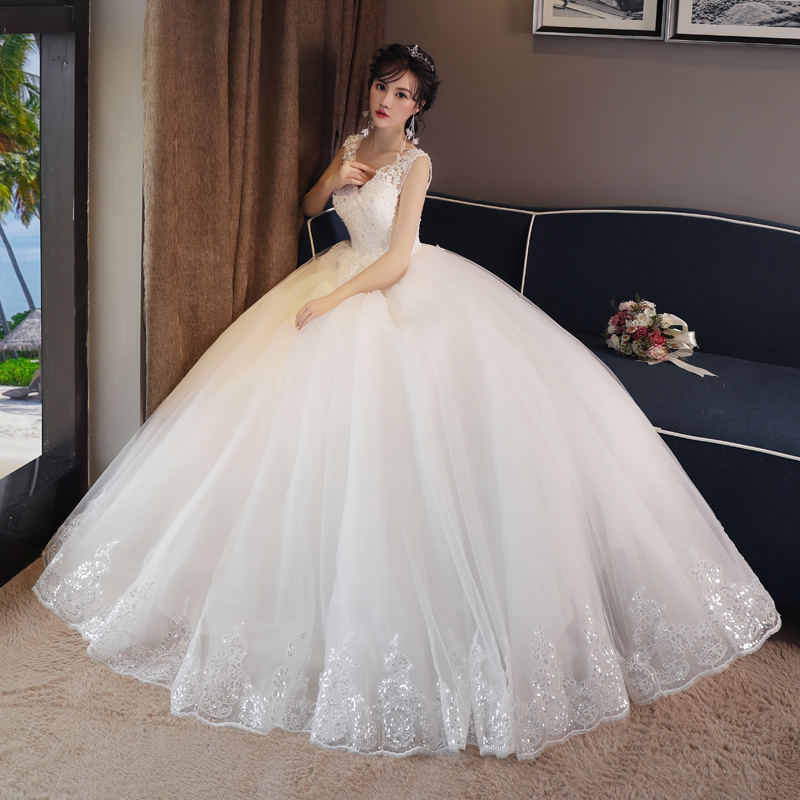 Pregnant Women Wedding Dress High Waist Bride Married Qi White