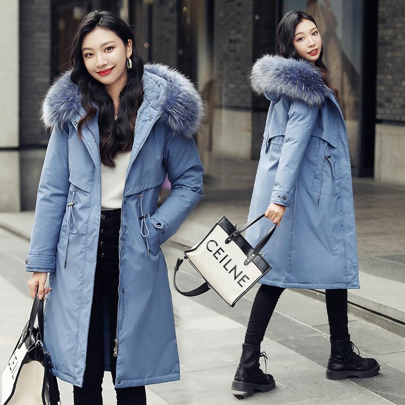 冬季时尚毛领派克棉服女中长款过膝2020新款加绒加厚宽松棉袄外套