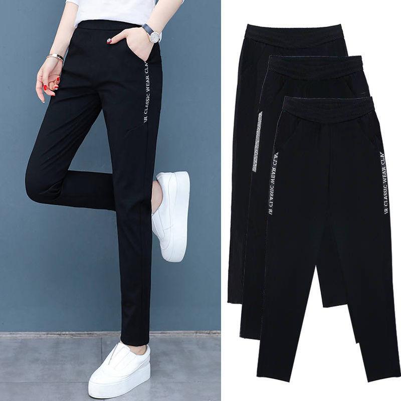 【七分裤/长裤】2020新款休闲裤女大码女装显瘦休闲运动裤黑色