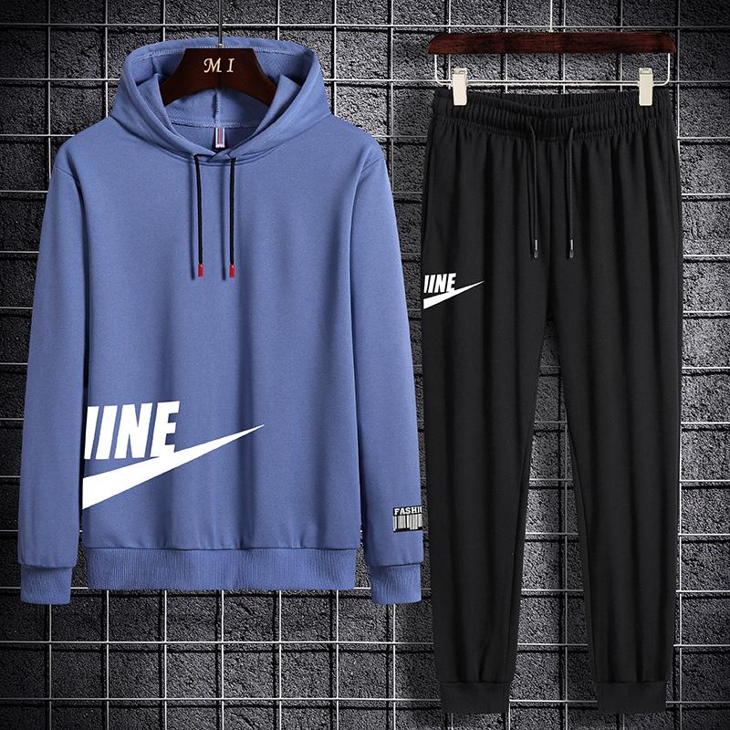 JIMO两件套青年休闲运动套装男2020秋季潮牌时尚学生款长袖卫衣男