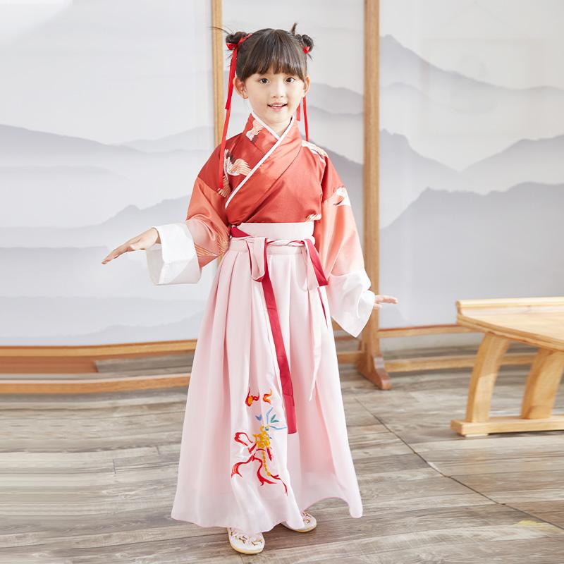 女童汉服儿童连衣裙唐装中国风小女孩超仙飘逸古装汉元素襦裙童装