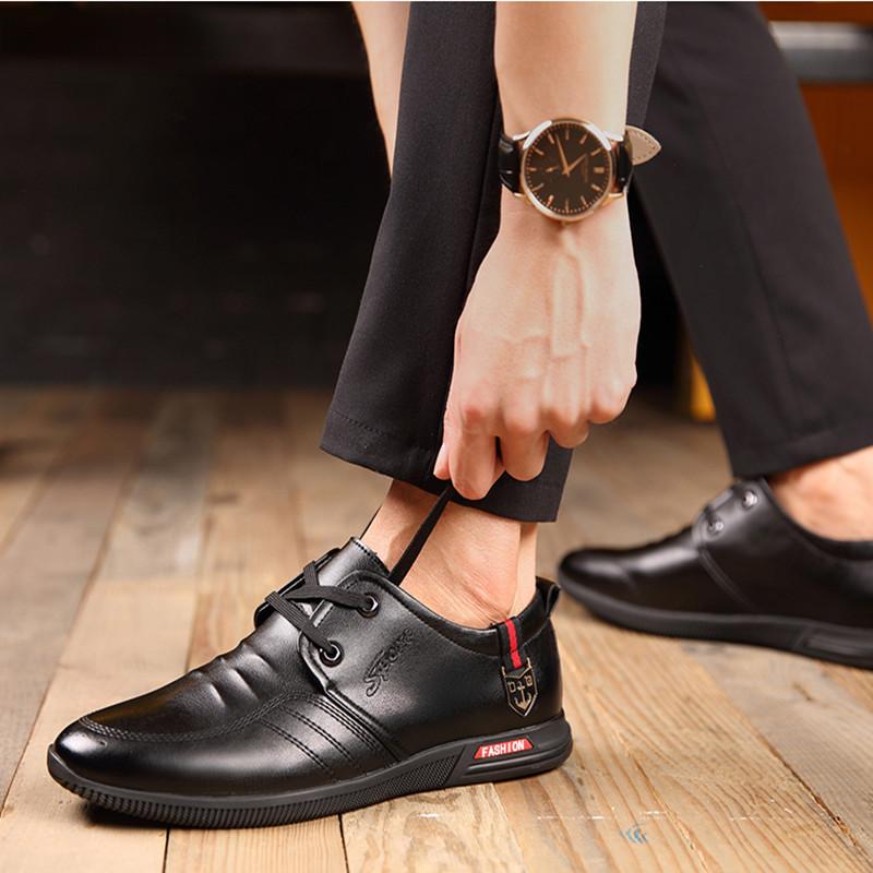 男伦皮鞋男春季男士商务正装真皮休闲内增高鞋子英伦潮流韩版百搭