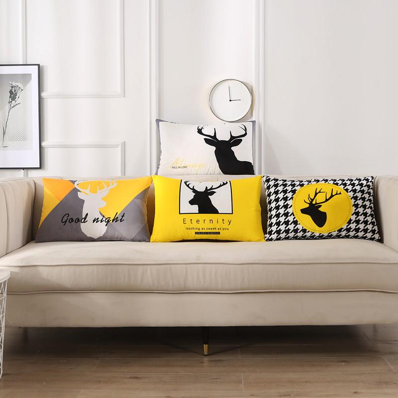 简约现代天鹅绒双面北欧抱枕靠垫长方形腰枕客厅沙发靠枕靠背定做