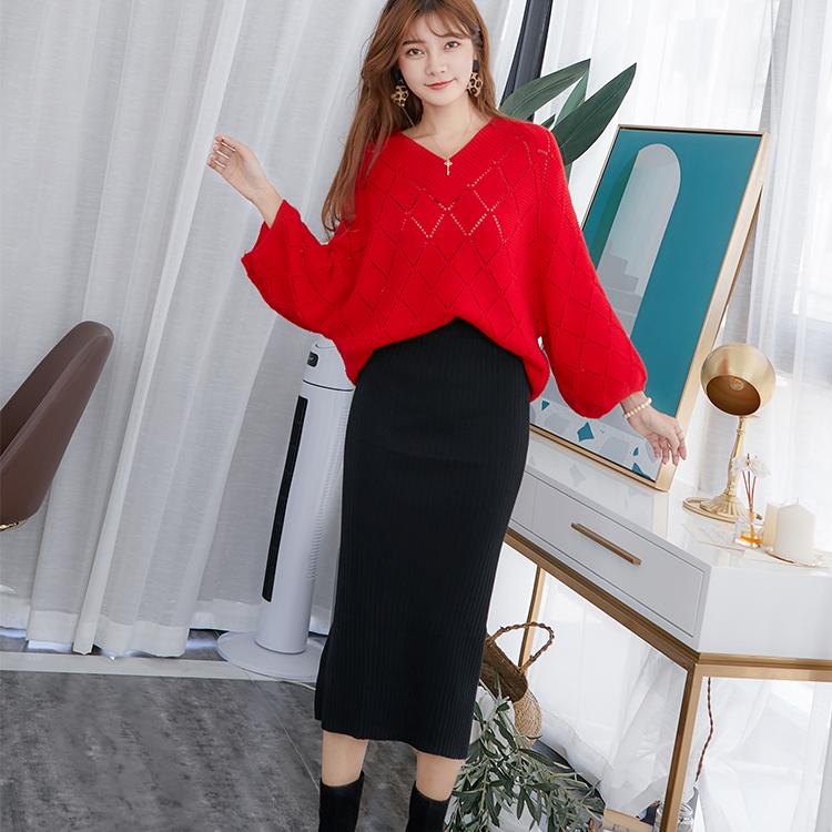韩版宽松镂空针织大码慵懒风套装毛衣蝙蝠衫V领半身连衣裙两件套