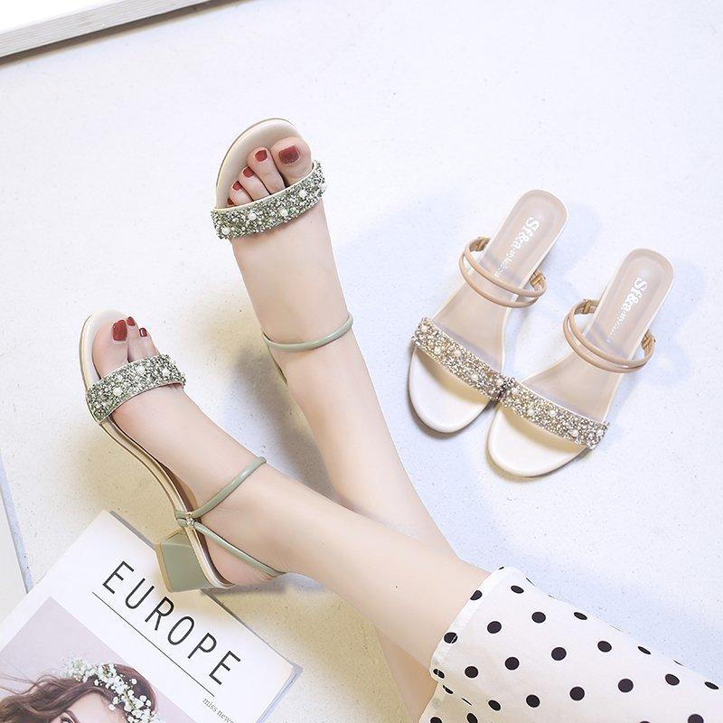 2020新款女士凉鞋夏季外穿中跟时尚两穿凉拖鞋百搭粗跟高跟女鞋子