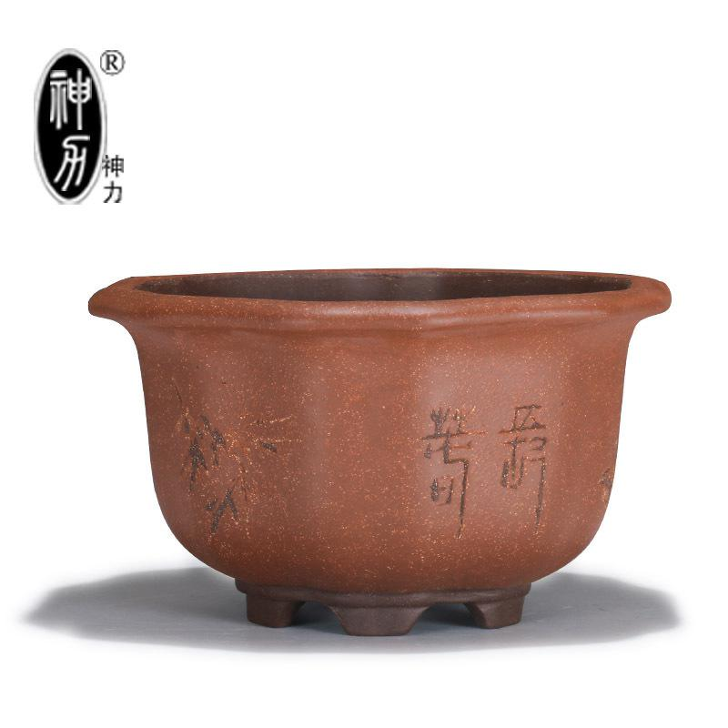 Yixing purple sand pottery forms green plant flowers gardening bonsai pot archaize kwai stumps basin orchid flower POTS