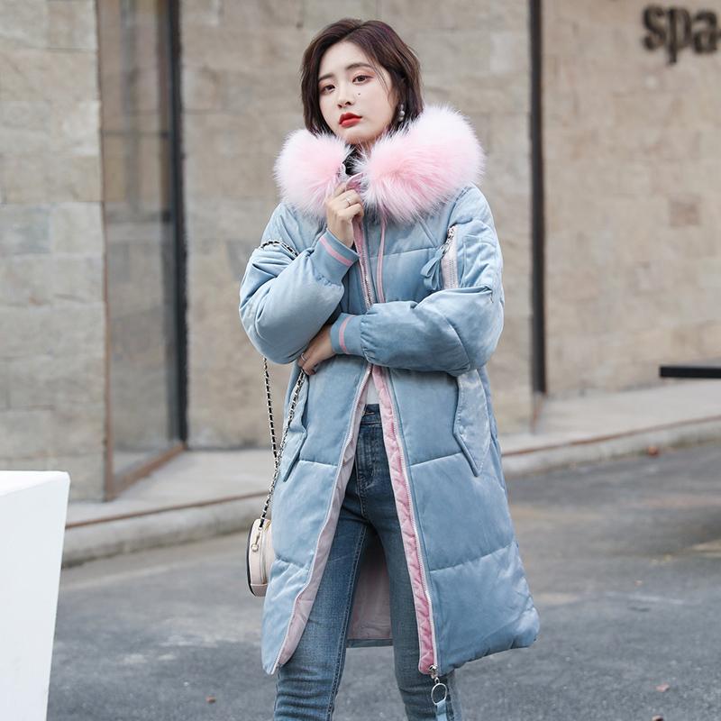 2019年冬装新款中长款女士棉衣冬季金丝绒羽绒棉服外套夹棉袄女装
