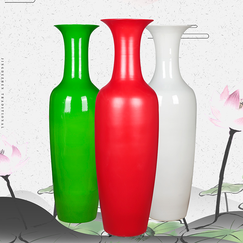 Jingdezhen ceramics customized pure color of large sitting room porch decoration vase of new Chinese style household furnishing articles