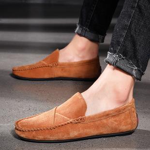 四季款时尚休闲皮鞋大码48真皮猪皮豆豆鞋懒人鞋英伦风男鞋驾车鞋