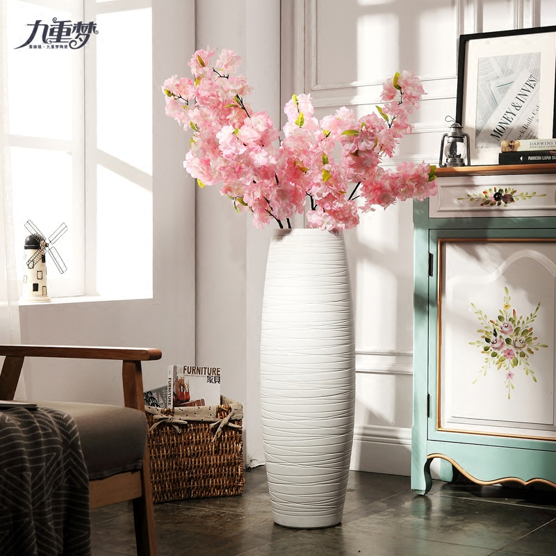 Jingdezhen ceramic art new Chinese vase large dried flower adornment furnishing articles home sitting room ground hotel porch