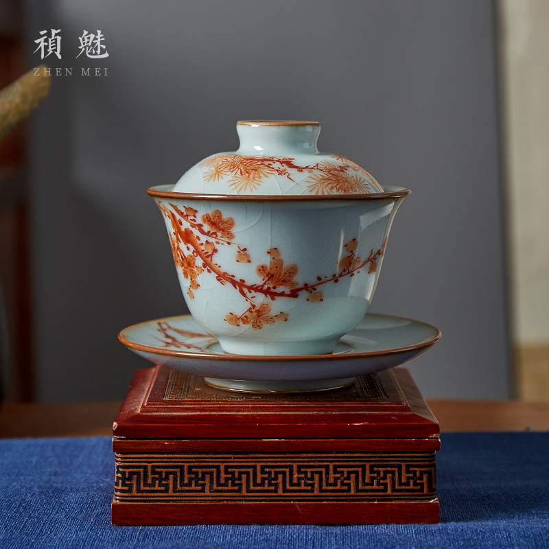 Shot incarnate your up hand - made the start to raise three tureen jingdezhen ceramic kung fu tea tea bowl cover cup