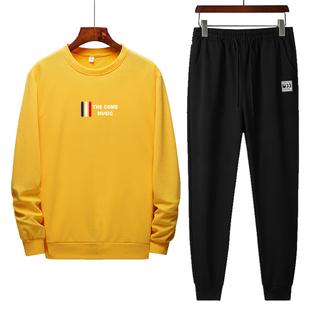 太平公鸡2020春季新长袖圆领卫衣男装韩版休闲运动套装男士上衣服
