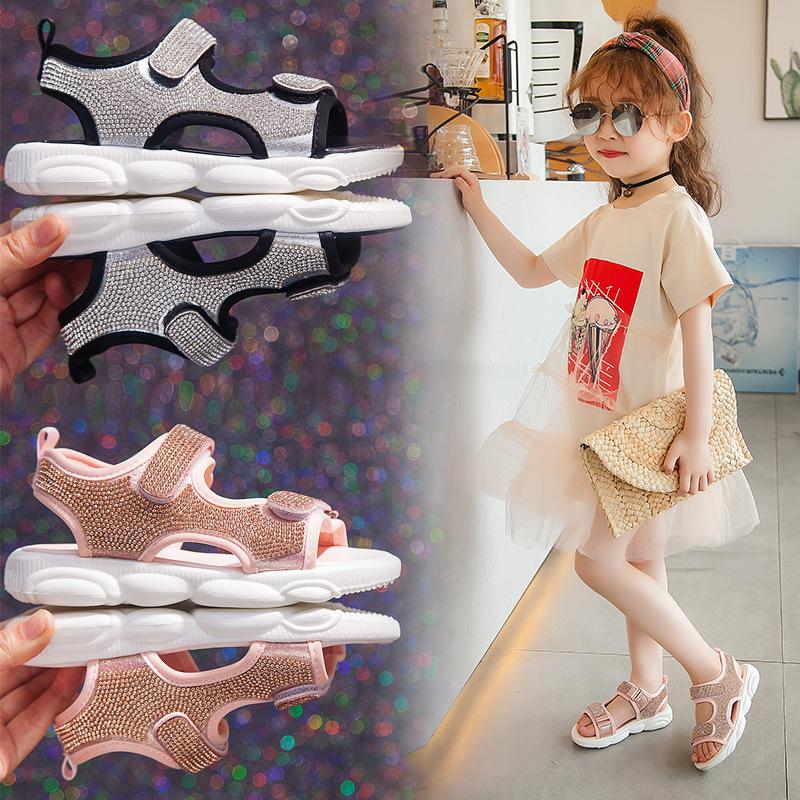 女童凉鞋2020新款夏季韩版时尚亮钻中大童公主鞋女孩软底沙滩鞋
