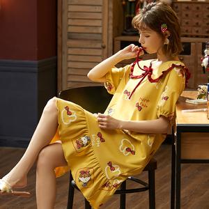 清野芙睡裙女士夏季纯棉薄款大码200斤胖m宽松孕妇可爱春秋家居服