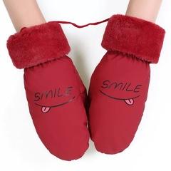 保暖滑雪手套女冬季骑车加厚加绒学生防风防水带挂绳棉皮手套冬天