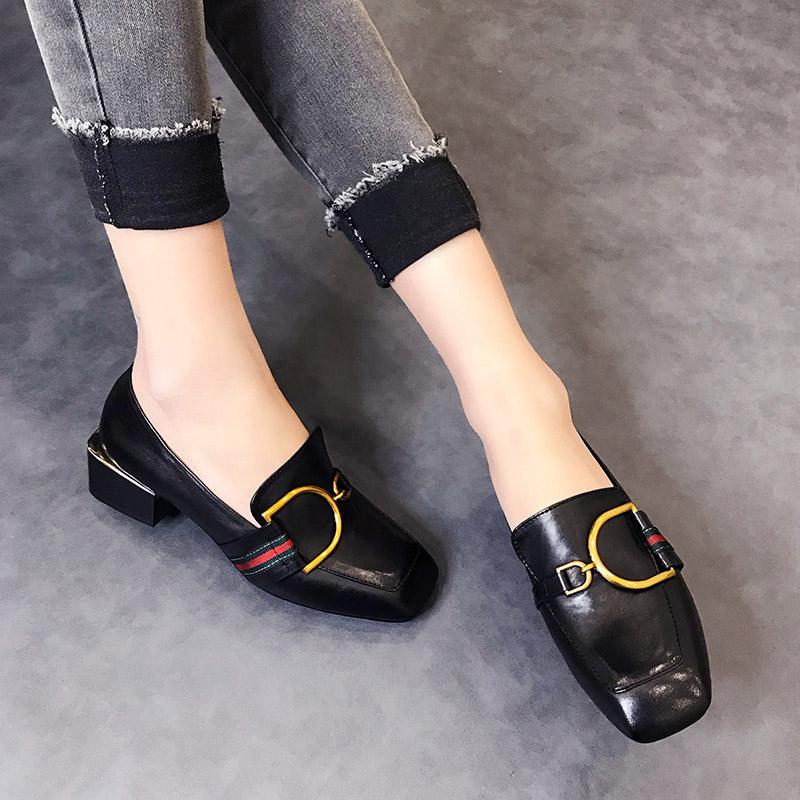 欧洲站2018新款女鞋春季小皮鞋女中跟单鞋女方头奶奶鞋粗跟潮鞋女