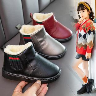 2021冬季新款儿童雪地靴女童防水防滑中大短靴男童加绒小宝宝棉鞋