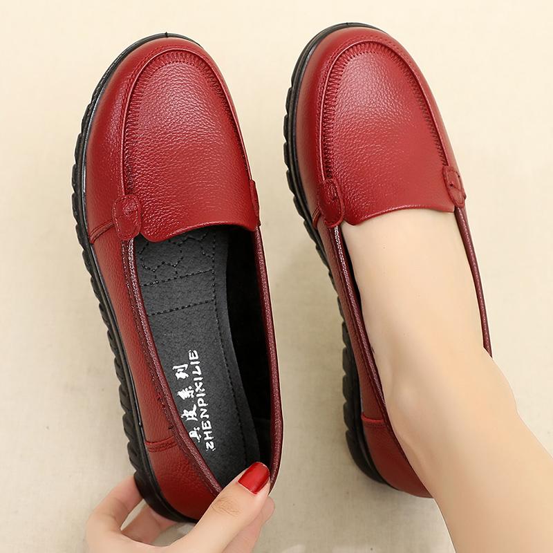 闰月妈妈鞋真皮软底舒适单鞋夏季中老年女鞋老人皮鞋平底防滑奶奶