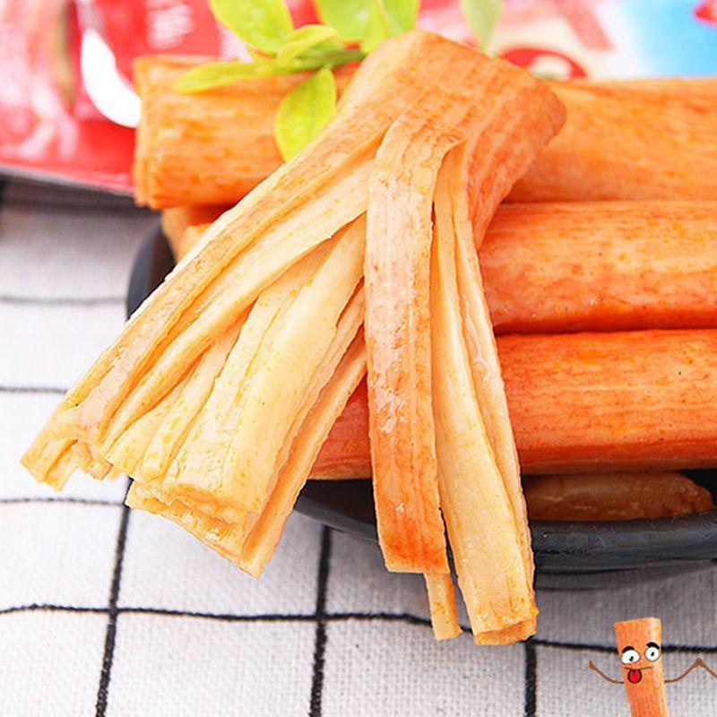 手撕蟹柳棒好吃的网红零食休闲食品即食海鲜熟食蟹棒