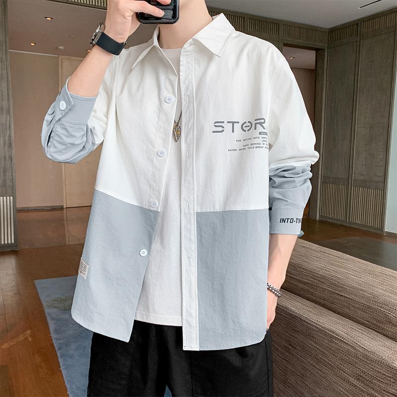 衬衫男2021春季新款韩版潮流休闲长袖衬衣男装春装内搭上衣服外套