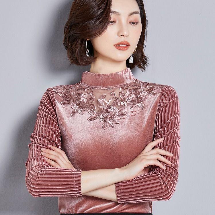 课图2020金丝绒大码单款加绒半高领蕾丝拼接T恤长袖打底衫