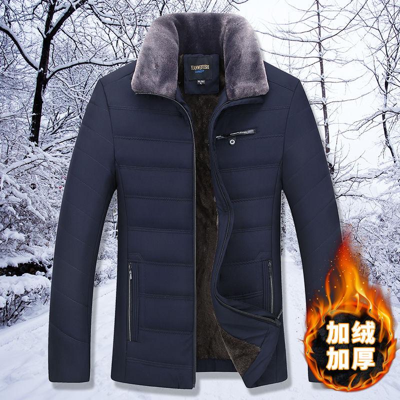 棉服外套男士翻领棉衣加绒加厚商务休闲秋冬中老年爸爸装外套棉袄
