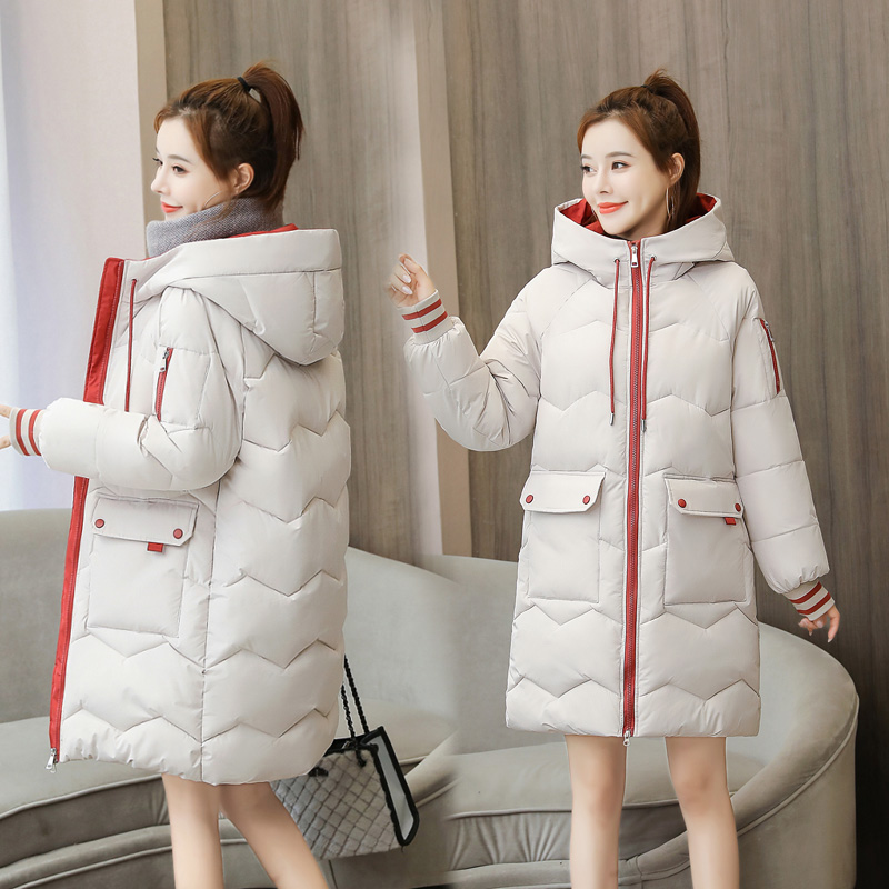 2020秋冬款撞色大毛领羽绒棉服女韩版中长款时尚加厚保暖过膝外套