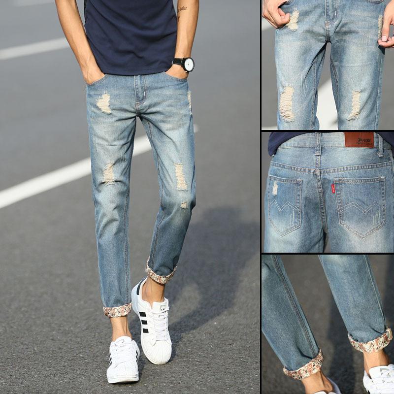 肯敖2020青年破洞九分牛仔裤男士弹力修身小脚裤男学生韩版潮流
