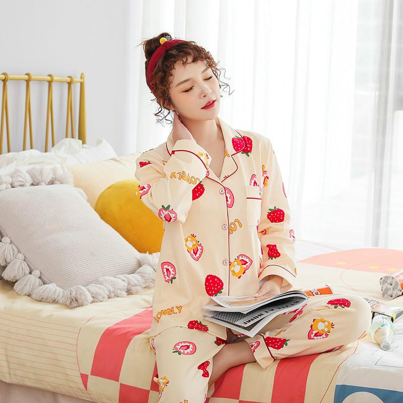 卓贝萱睡衣女春秋韩版开衫翻领时尚甜美长袖长裤学生两件套家居服