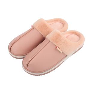 【情侣款】PU皮质棉拖鞋