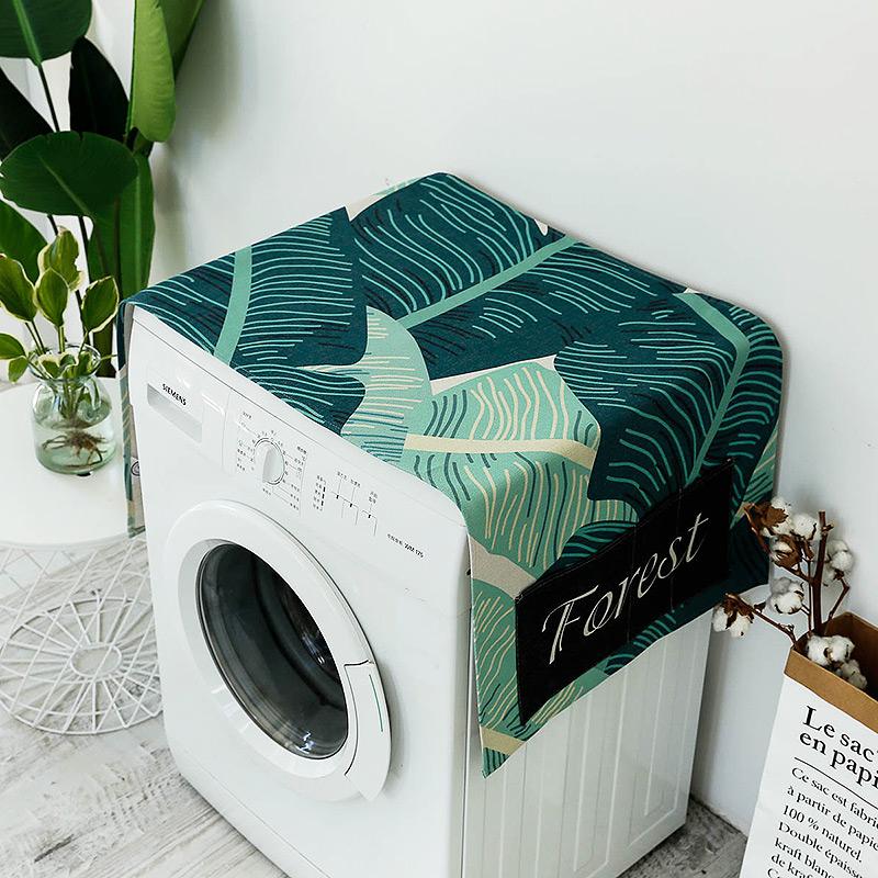时尚绿植洗衣机盖布防水盖巾 单开门冰箱盖布多用防尘罩布艺