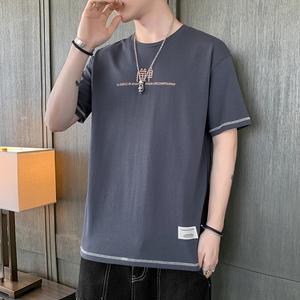 夏季男士短袖T恤潮牌流宽松男装上衣圆领卫衣五分半袖体恤衫港风