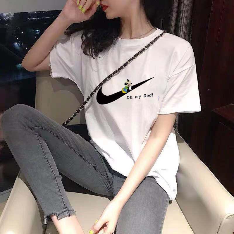 纯棉短袖t恤女2021夏装新款韩版宽松大码白色简约上衣服ins潮