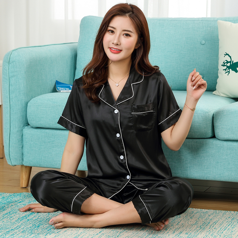 Summer pajamas short-sleeved girls cute casual Korean shirt silk satin thin soft ice silk home service black