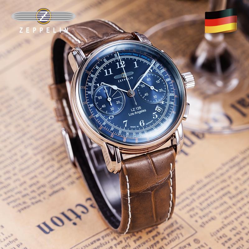 zeppelin齐博林新款德国进口手表男复古石英手表德国腕表正品7614